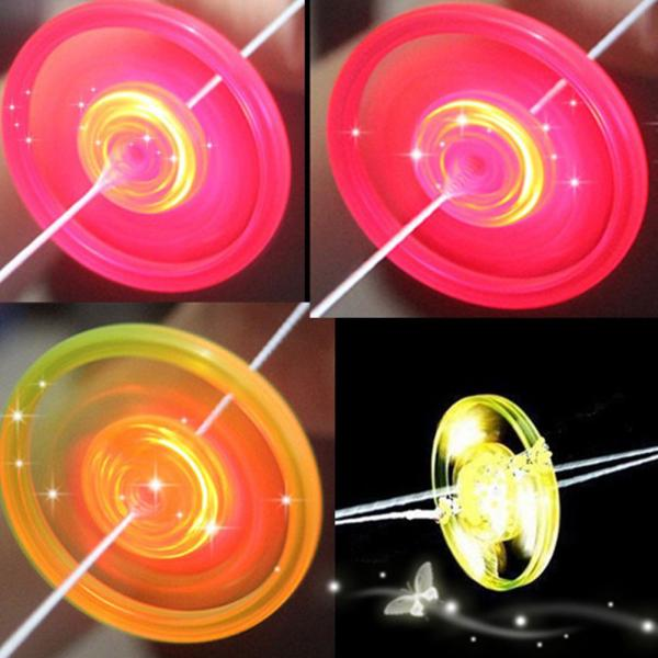 Kids Pull Hand Luminous Flashing Flywheel Toy LED Light Up Flash Gyro Toys Novelty Children's Birthday Gift