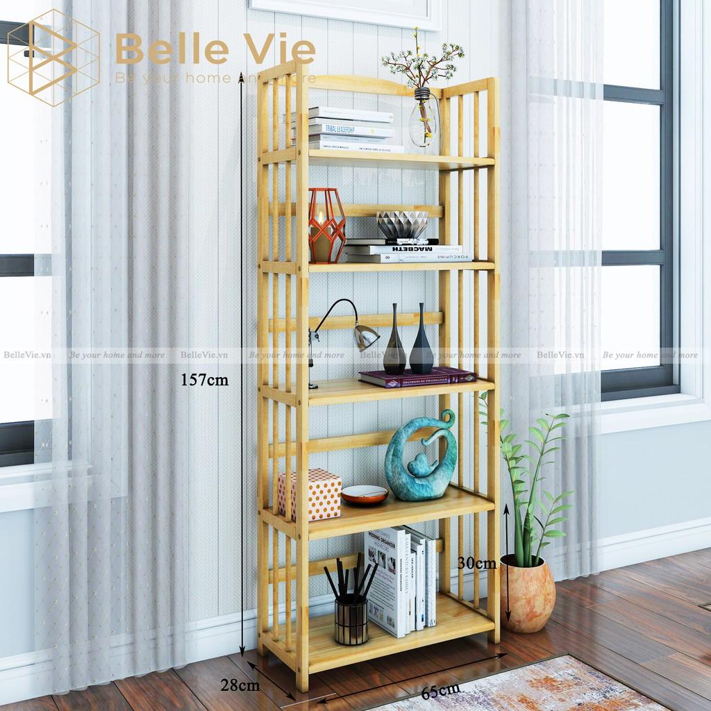 Kệ Sách 5 Tầng BELLEVIE Kệ Gỗ Decor Lắp Ráp Đơn Giản Dễ Dàng Bookshelf 5F Natural x 65Cm