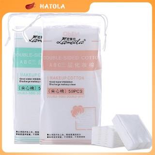 Bông tẩy trang Lameila 3 lớp đàn hồi co dãn túi 50 miếng tiện lợi Hatola BTT01 thumbnail