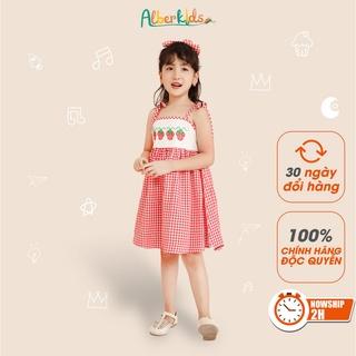 Váy cho bé gái ALBER KIDS 2 dây thêu họa tiết dâu tây cho bé gái từ 2 đến 12 tuổi [V23]