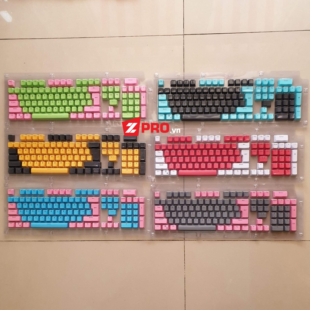 Bộ keycap PBT xuyên led 104 phím Mix sẵn 2 màu