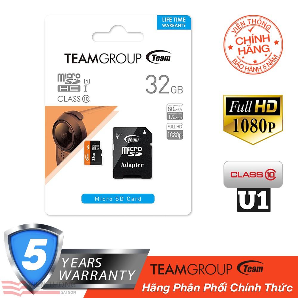 Kết quả hình ảnh cho Thẻ nhớ 32GB microSDHC 80MB/s 500x Team class 10 U1