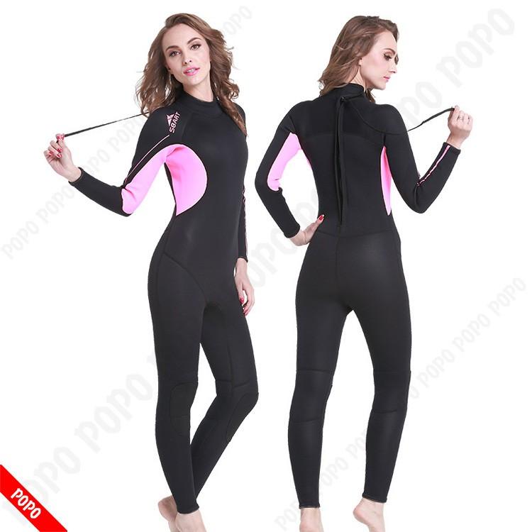 Bộ đồ lặn, quần áo lặn biển cho NỮ 3.0mm giữ ấm, thoáng khí, chống thầm nước cao cấp POPO Sports