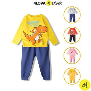 Bộ quần áo dài tay 4LOVA thun cotton in hoạt hình ngộ nghĩnh cho bé yêu từ 10-30 kg