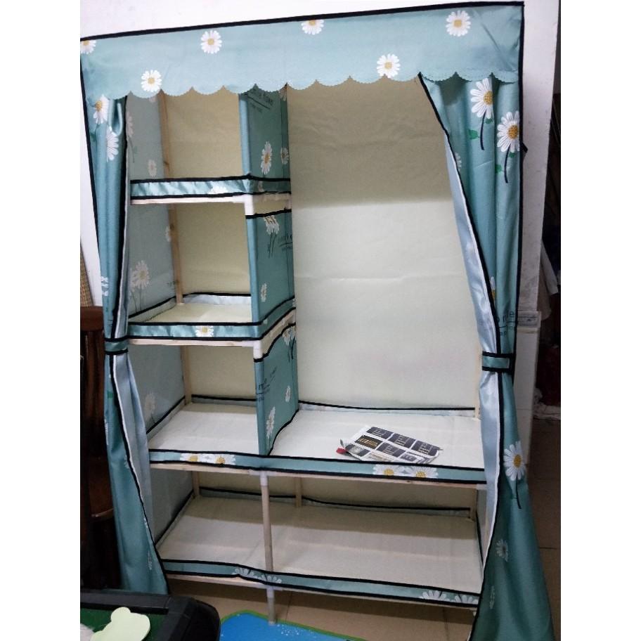 Tủ Kệ đựng quần áo tủ vải khung gỗ 4 buồng bọc nhựa chuẩn loại 1 Chống Ẩm Mốc Cam Kết Sảm Phẩm Tốt Nhất Trong Tầm Giá