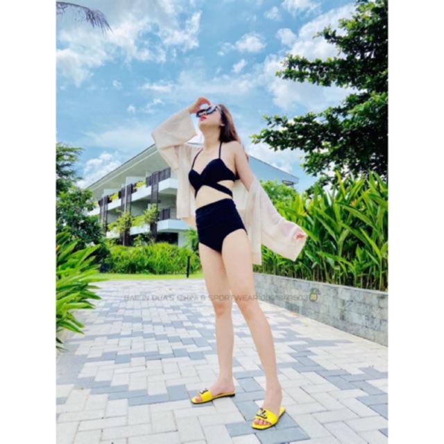 Bikini hai mảnh đen đi bơi cho nữ ( có hình khách chụp feedback)