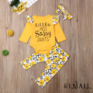 ➤GMLNewborn Kid Baby Girl Clothes Sassy Dasiy Romper Top Long Pants Cotton Outfit