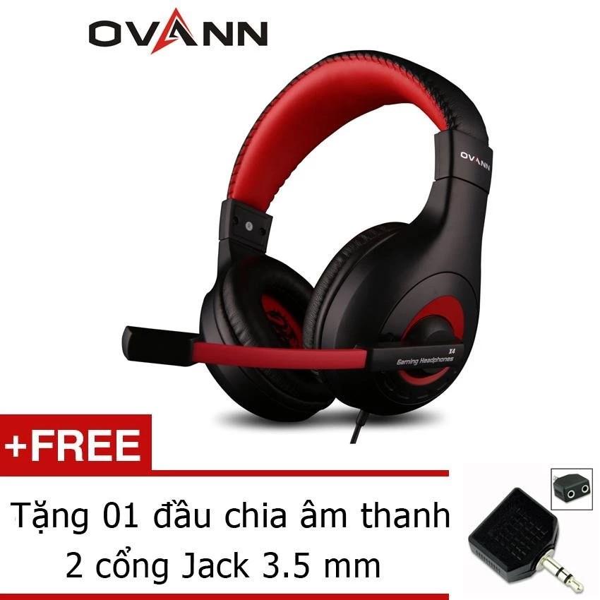 Tai nghe chụp tai Ovann X4 Pro Gaming Headsets Ovann X4 (Đen Đỏ)+ Tặng đầu chia âm thanh 2 cổng Jack