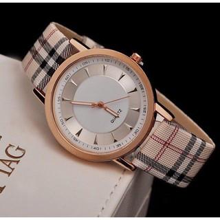 Đồng hồ thời trang nữ Quartz dây caro cá tính Jj887