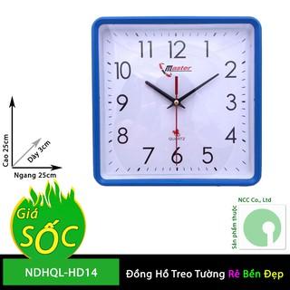 Đồng hồ treo tường NDHQL-HD14 kim giật mặt vuông nền trắng giá rẻ