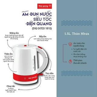 Ấm đun nước/bình nấu nước siêu tốc 1,5lit 1800w Điện Quang ĐQ EKT03 1815