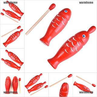 warmhome 1 Pcs Wooden Instrument Wooden Fish Shape Percussion Instrument Kids Musical Toy thro
