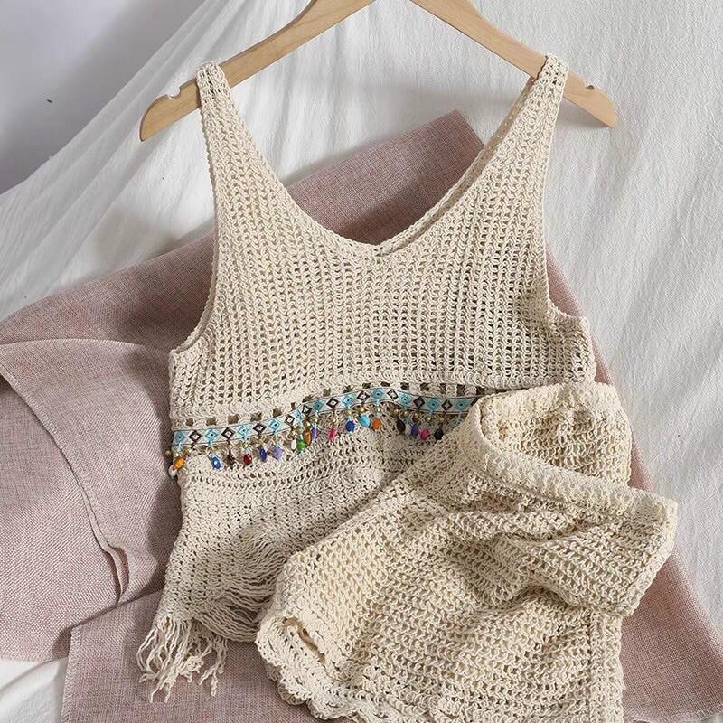 Set áo bra + quần sooc ren lưới đi biển