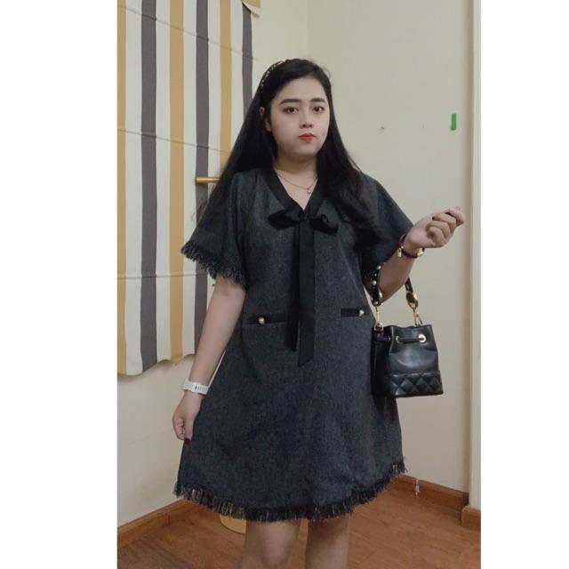 [Mã WACCB hoàn 15% xu đơn 50k] Váy Suông Cổ Nơ Vải Xước Bigsize