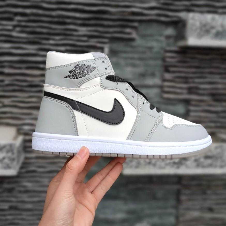 [Full box+bill] Giày Jordan xám vạch đen cao cổ chuẩn xịn full size nam nữ
