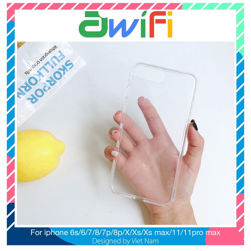 Ốp iphone - Ốp lưng  trong suốt 5/5s/6/6s/6plus/6splus/7/8/7plus/8plus/x/xs/xs max/11/11pro max  - Awifi Case B1-3