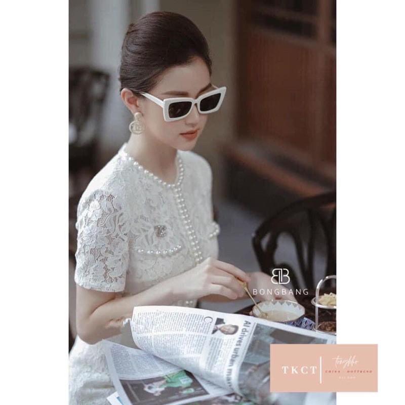 Kính râm Nam Nữ Thời trang cá tính chữ nhật vuông sang chảnh - Kính râm v viền trắng