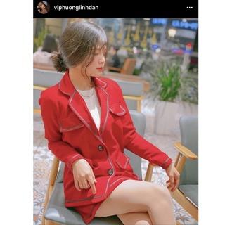 Áo Blazer 2 Túi Màu Đỏ Viền Đen EDINI - A1202 thumbnail