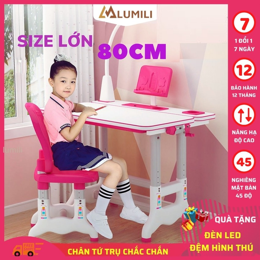 [Size to 80 + tặng đệm ghế] bộ bàn ghế chống gù chống cận cho học sinh bàn học thông minh điều chỉnh độ cao b05