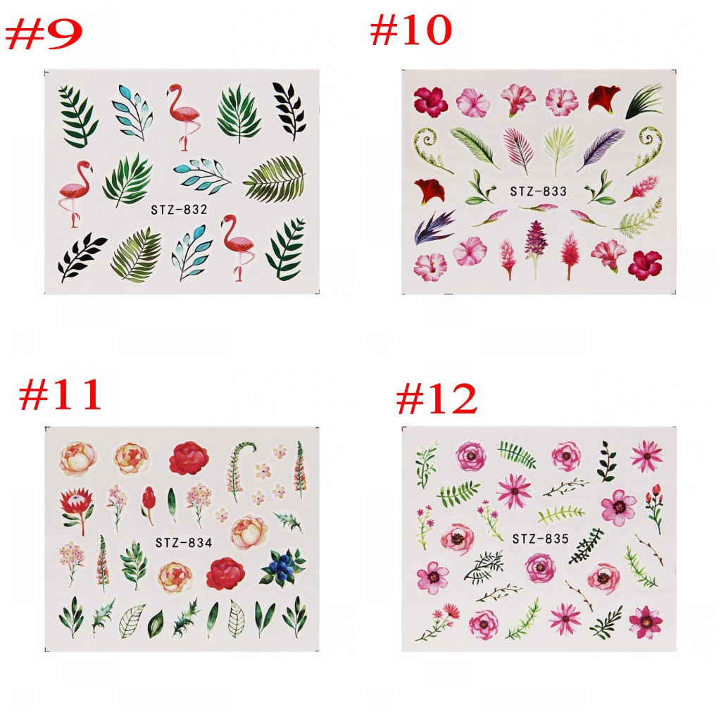 【TGS】1 Sheet Watermark Feather Nail Water Decals Summer Style Transfer Stickers Nail Art Sticker