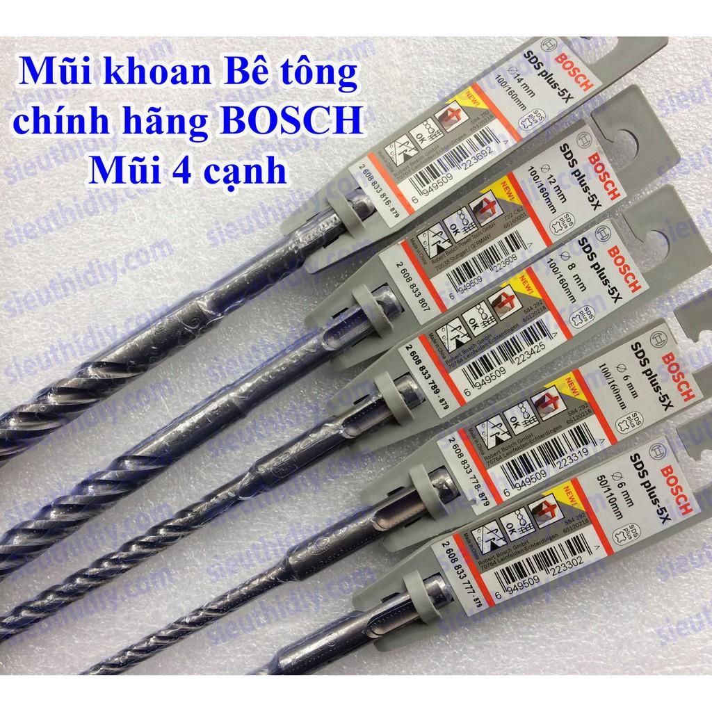 Mũi khoan bê tông chính hãng BOSCH SDS Plus-5X mũi 4 cạnh