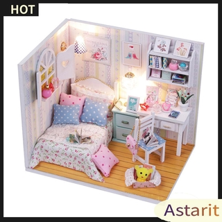 Astarit.DIY Model Wooden Building Blocks Miniature Doll House Furniture Gift Toys