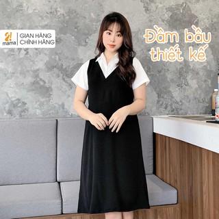 Đầm váy bầu công sở 2MAMA dáng suông thiết kế sơ mi pha màu đen trắng V44 thumbnail