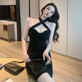2020 summer new temperament sexy live style slim tube top waist slimming strap hanging neck halter dress