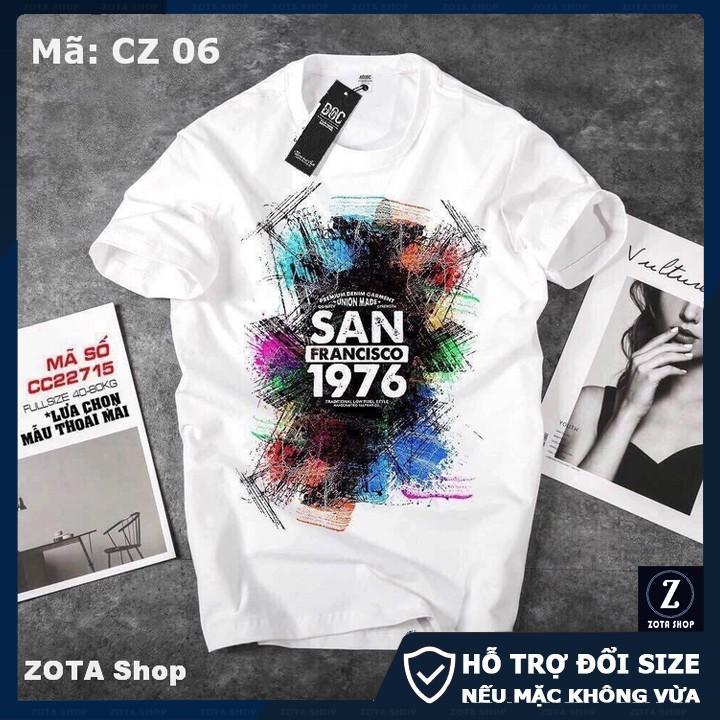 Áo thun nam tay ngắn, BST áo phông trắng cổ tròn chất thun 4 chiều in 3D