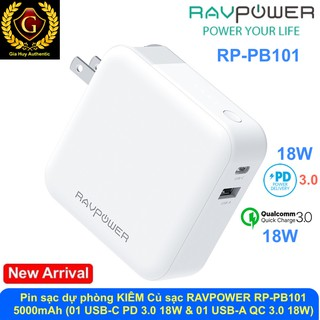Pin sạc dự phòng KIÊM Củ sạc RAVPOWER RP-PB101 5000mAh PD 3.0 18W & QC 3.0 18W