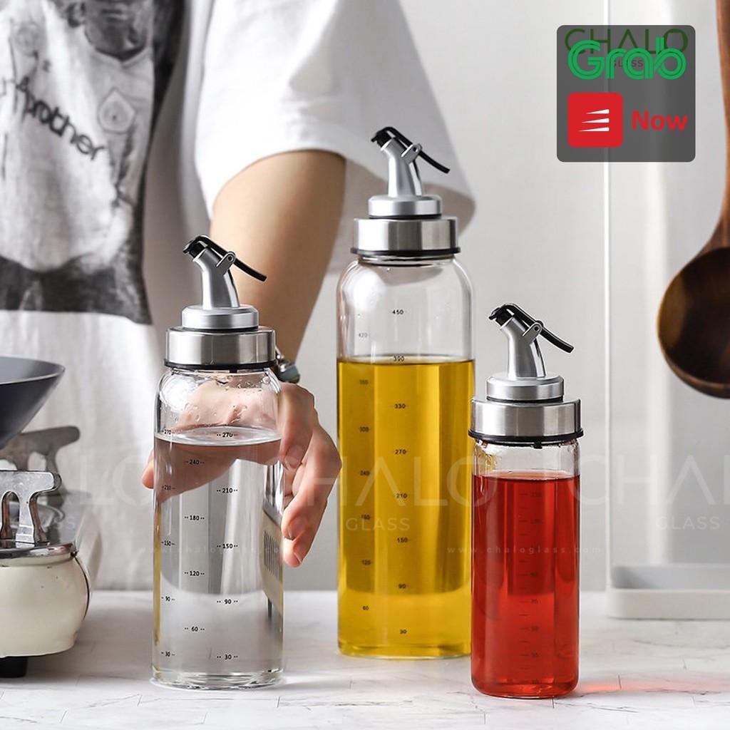 Chai đựng dầu ăn thủy tinh có chia vạch JIMMEAL 170ml - 300ml - 500ml