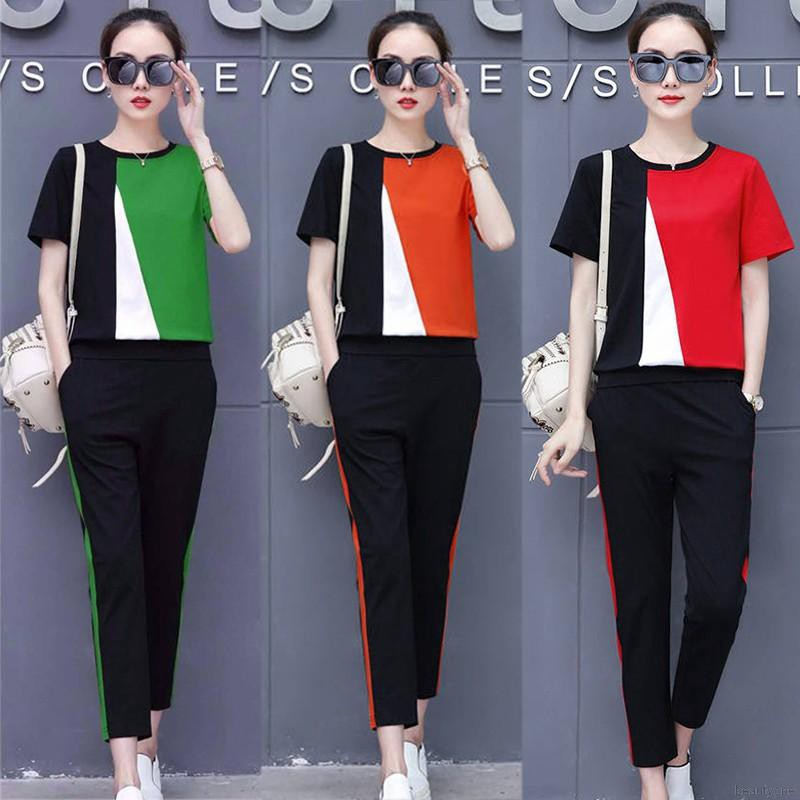 1 Set Women Color Block Stripe Top + Ankle-Length Pants