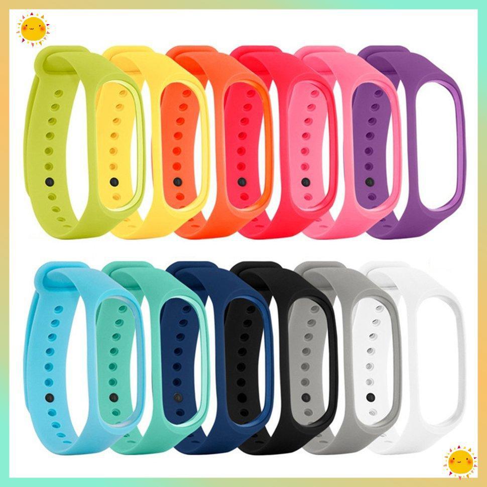 Dây đeo đồng hồ thay thế bằng silicon màu trơn cho xiaomi band 2 3