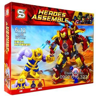 Bộ Lego Lắp Ghép Ninjago Super Heroes Marvel – Iron Man vs Hulk. Gồm 371 Chi Tiết. Lego Ninjago Lắp Ráp Đồ Chơi Cho Bé.