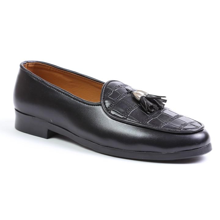 Giày Lười Nam Chuông Vàng Vân Da Bụng Cá Sấu Rất Sang Trọng - Giày Lười Nam Chuông Vàng  M507(K)-Kèm Móc Khóa Da Bò