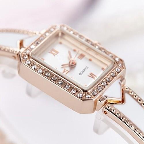 Đồng hồ số La Mã bằng hợp kim đính đá tinh xảo cho nữ