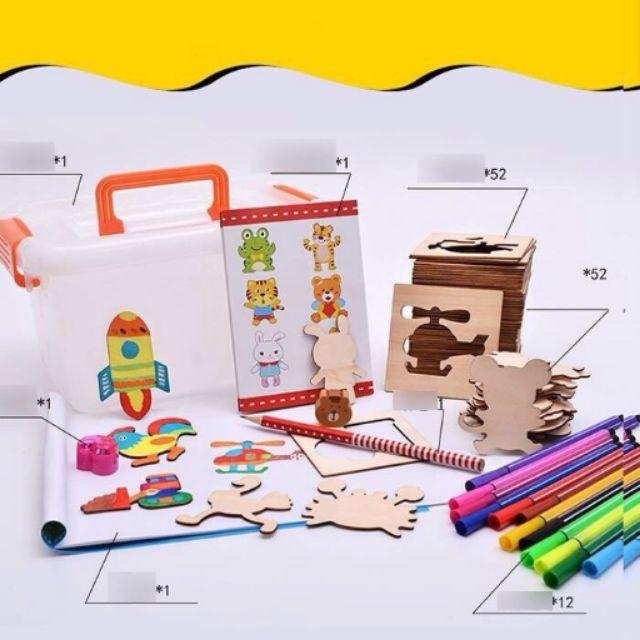 Bộ 50 khuôn gỗ cho bé tập vẽ tập tô