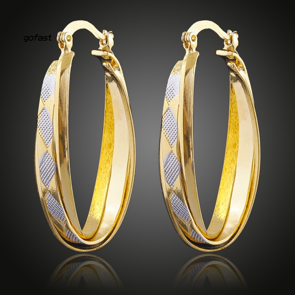 Retro Criss Cross Oval Shape Party Big Circle Charm Hoop Earrings Lady Jewelry