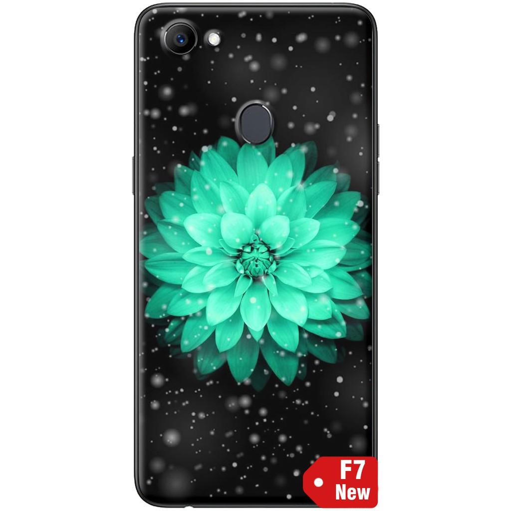 Ốp lưng nhựa dẻo Oppo F7 Hoa cúc xanh