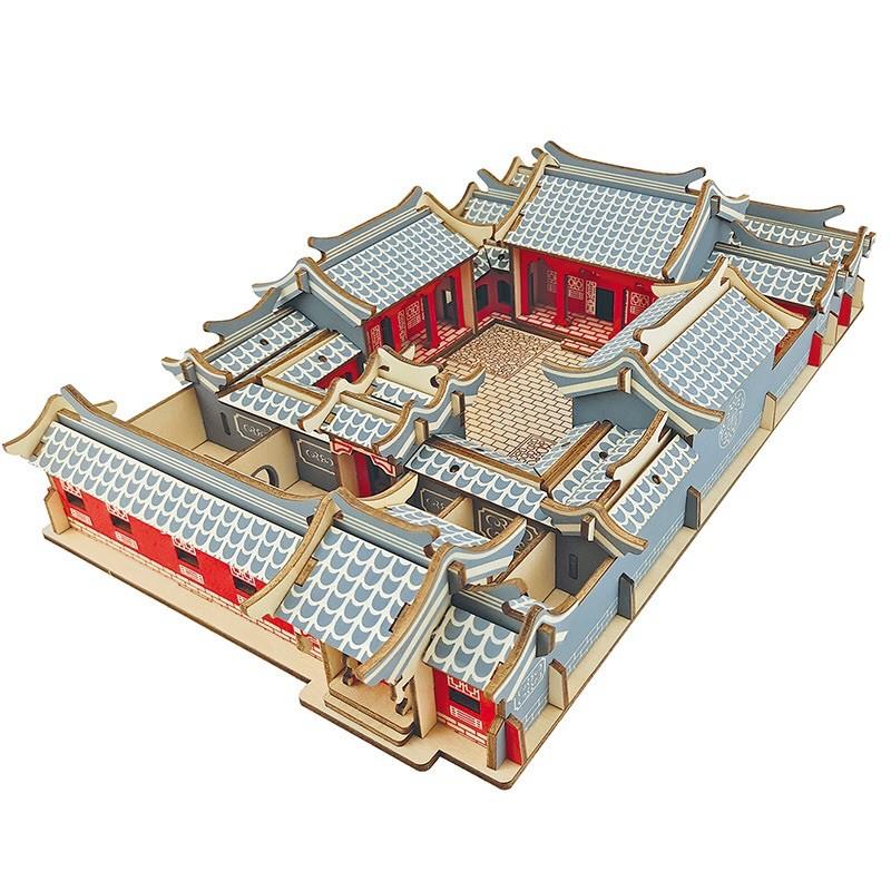 MÔ HÌNH GỖ 3D đồ chơi lắp ráp lego nhà tứ hợp viện cổ xưa, đồ chơi xếp hình