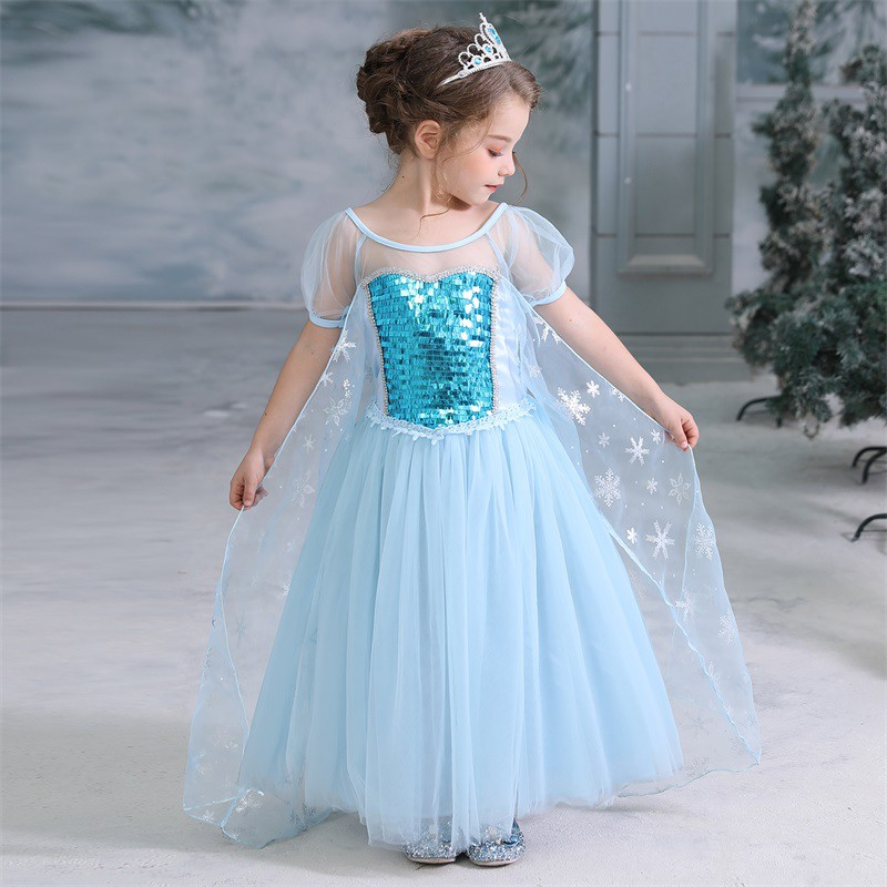 Đầm xòe công chúa phối vương miện cho bé gái