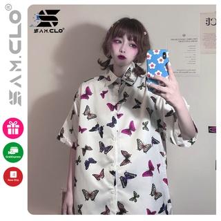 Áo SƠ MI NỮ form rộng in 3D cổ bẻ tay ngắn - lỡ dáng ulzzang freesize unisex mặc cặp, nhóm, in hình ĐÀN BƯỚM thumbnail