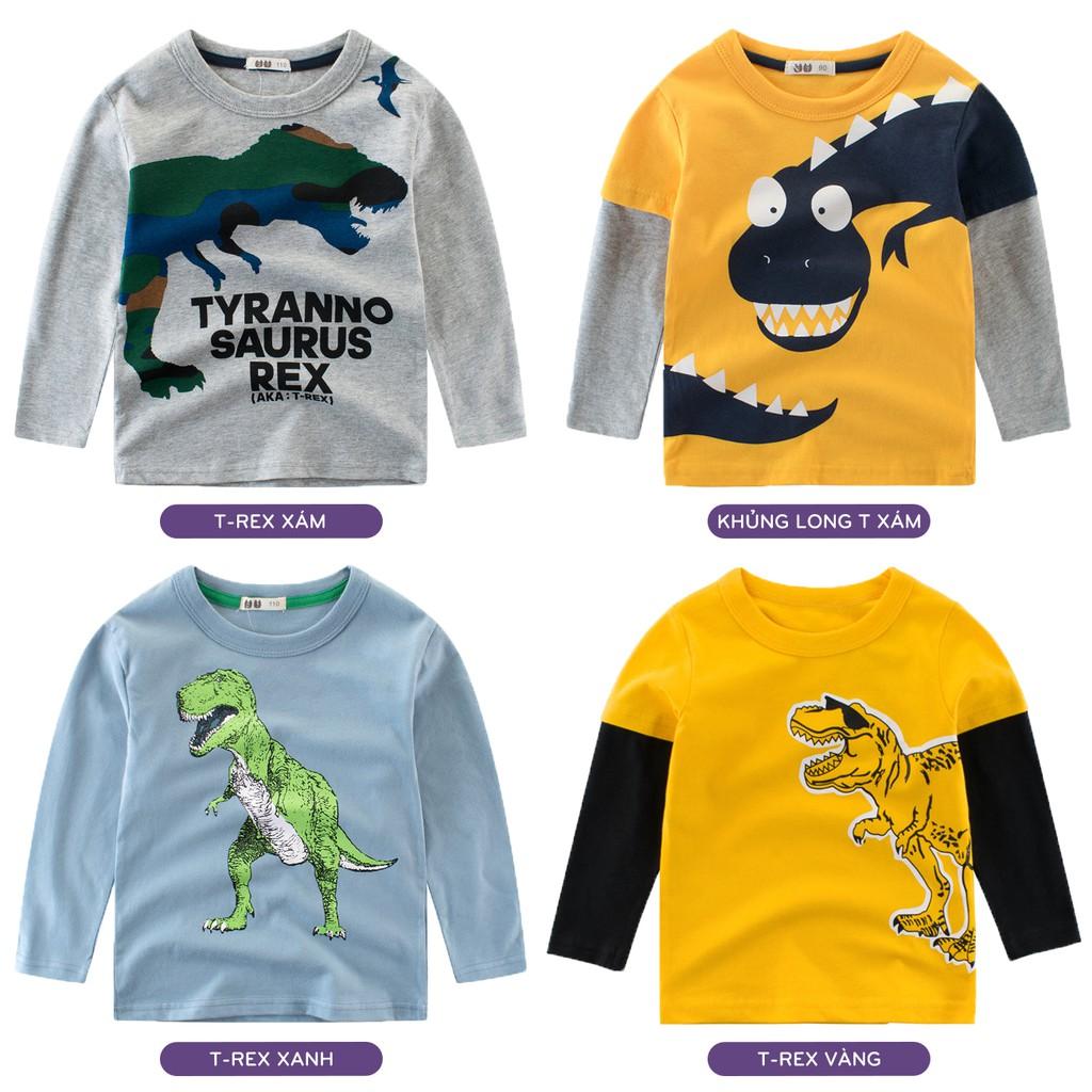 Áo bé trai 27KIDS áo thun dài tay cho bé in hình khủng long chất cotton hàng xuất Âu Mỹ