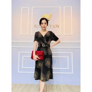 Đầm thời trang trung niên U 50 , U 60 cao cấp ALVA thiết kế sang trọng , chất liệu siêu co dãn, có đủ size từ 40 – 70 kg