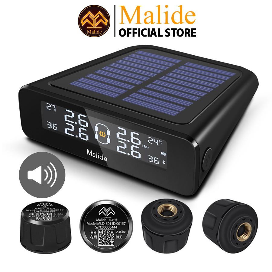 [CHÍNH HÃNG] Cảm biến áp suất lốp van ngoài Malide + màn hình hiển thị năng lượng mặt trời cảnh báo tiếng BIP - B03R02