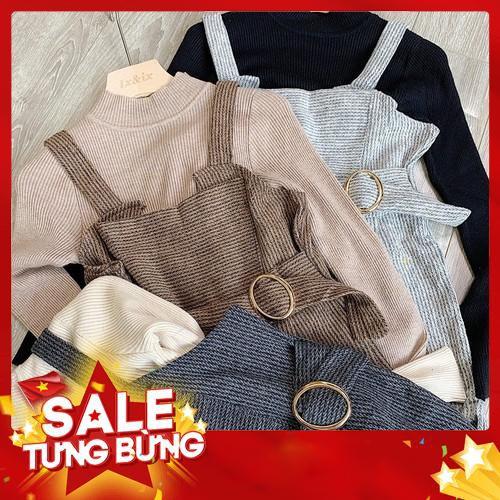 (HOTTREND) Set yếm- áo len tăm siêu co dãn+ yếm quần dạ Hàn Quốc -Hàng nhập khẩu