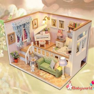 »b1❤3D Wooden Craft Doll House Furniture DIY Miniature Dust Cover Dollhouse Toyღ