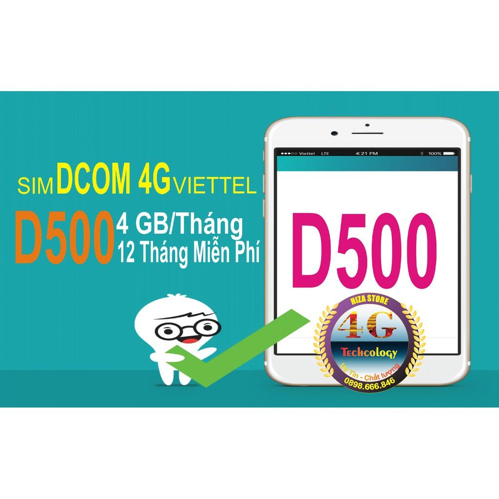 (FREE 12 Tháng) SIM Viettel D500