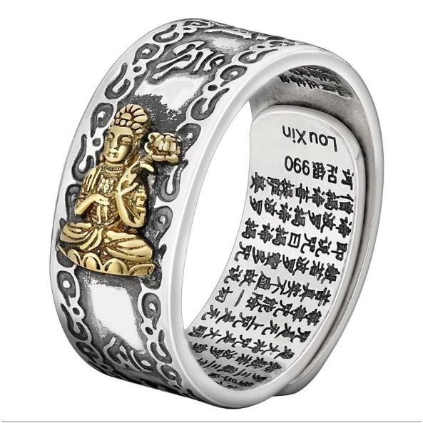 Nhẫn Bạc 8 Vị Phật Độ Mạng Mạ Vàng cho 12 con Giáp khắc Bát Nhã Tâm Kinh và Lục Đại Thần Chú từ Tây Tạng