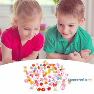 ♥DSP♥50pcs Plastic Kids Cartoon Colorful Children Ring Girl Birthday Party Gift